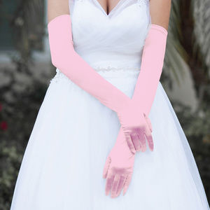 Costume PINK Satin Gloves Opera Length 16""